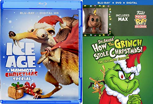 (Santa's naughty list Original Cartoon Story Dr. Seuss' How The Grinch Stole Christmas Blu Ray + DVD & Exclusive Max the Dog Pocket Pop Figure + Ice Age Mammoth Special)