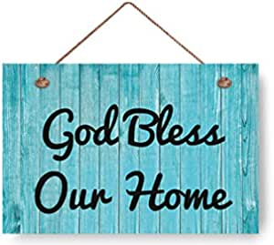 God Bless Our Home Rustic Wood Signs Beach Decor Sign Home Deco Plank Hangin Sign 8x12 For Home Gifts Housewarming Gift Home Kitchen