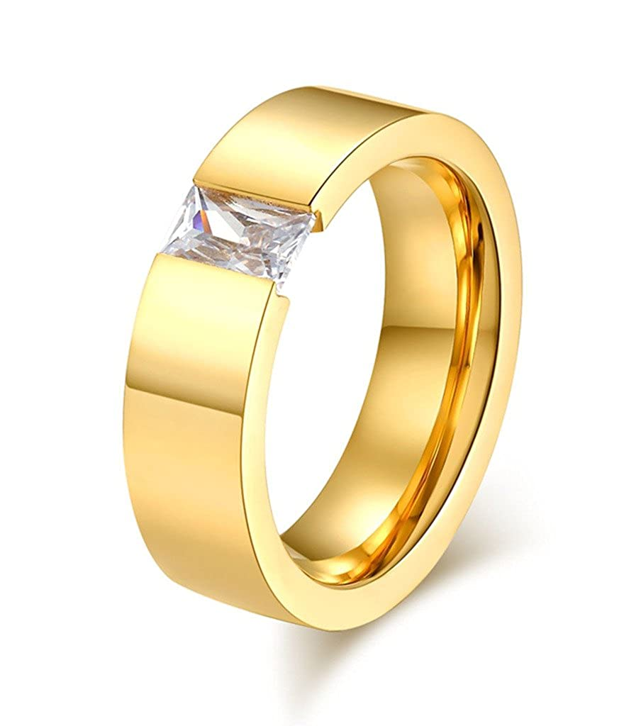 Womens Girls Stainless Steel Cubic Zirconia Ring for Wedding Band Engagement, 6mm Width, Size 6 to 13 Vnox Jewelry R--082