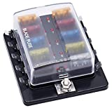 Cllena 10-Way Blade Fuse Box [LED Indicator Fuse Holder + Protection Cover] - Fuse Block for Car Boat Marine Automotive