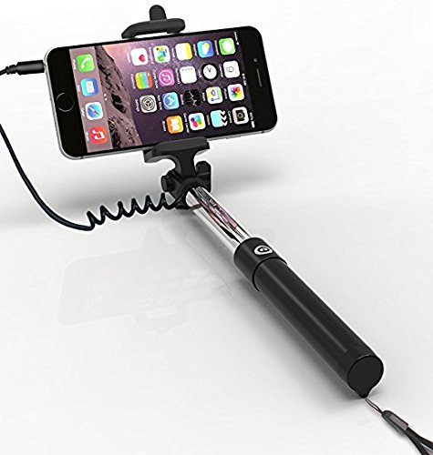 Selfie Stick, Self-portrait no Bluetooth required Extendable Handheld Selfie Stick with 3rd Generation Wire Drive Remote Shutter