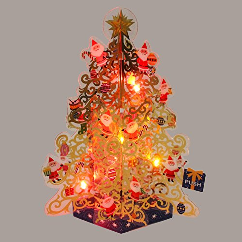 Mini Santa's Golden Christmas Tree Lights and 20 Melodies Pop Up Greeting Card