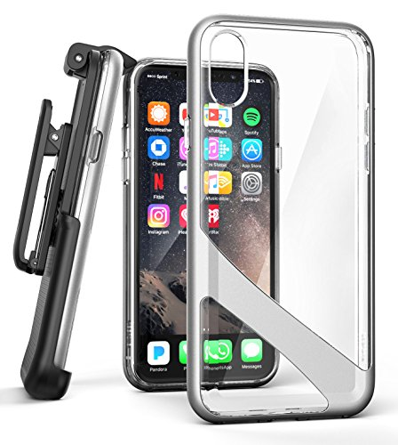 iPhone X Belt Clip Case w/ Screen Protector, Encased [Reveal Series] Premium Clear Back Cover with Holster Clip for Apple iPhoneX (2017 Release) Crystal Silver