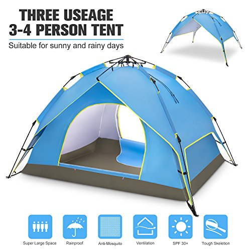 Price comparison product image BATTOP 4 Person Family Camping Tent, 3 Usages Double Layer Waterproof Sun Shelter, Automatic Instant Pop Up Tents For Outdoor (Blue)