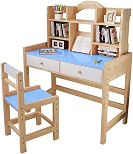 Adjustable Height Wooden Student Desk and Chair Set with Drawers and Bookshelves, Writing & Drawing Desk, Simpleness Study Table for Child,Bedroom Living Room Furniture (Blue)