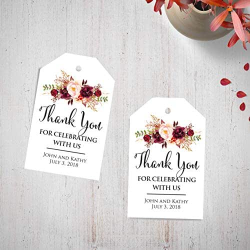 Thank You For Wedding Gift: Amazon.com: Custom Wedding Thank You Tags Burgundy Floral