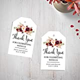Custom Wedding Thank You Tags Burgundy Floral Watercolor Gift Tags Wedding Favor Tags Personalized Thank You For Celebrating With Us Favors