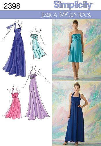 Simplicity Jessica McClintock Pattern 2398 Misses Special Occasion Dresses, Each in Two Lengths Sizes 12-14-16-18-20