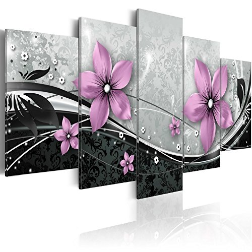 (Large Purple Flower Wall Art Painting Print on Canvas Modern Picture 5 Piece Home Decor Black and White Floral Background Framed Ready to Hang (60