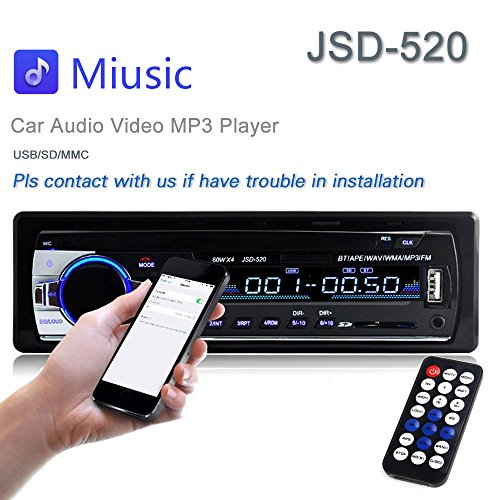 Original Bluetooth Stereo (Car Stereo Radio 60Wx4 Output Bluetooth FM MP3 Stereo Radio Receiver Aux With USB SD And Remote Control L-JSD-520)