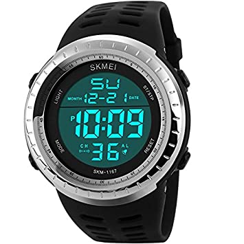 1bb3bac7cbf7 Sunjas Reloj Deportivo de Pulsera Resistente al Agua Digital LED Alarma  Calendario Reloj para Hombre Mujer- Color de Negro