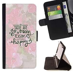 Momo Phone Case / Flip Funda de Cuero Case Cover - Muchas Razones feliz texto Rosa Blanca Inspiring - Sony Xperia Z5 5.2 Inch (Not for Z5 Premium 5.5 Inch)