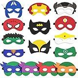 15 PCS Superhero Masks Cosplay Party Favors For Kid,Teenage Mutant Ninja Turtle Felt Masks For Boys Girls