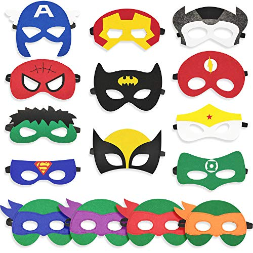15 PCS Superhero Masks Cosplay Party Favors For Kid,Teenage Mutant Ninja Turtle Felt Masks For Boys -