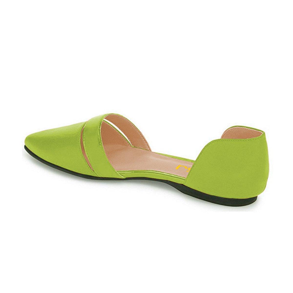FSJ Women Cute D'Orsay Ballet Flats for Comfort Pointed Toe Low Heels Dress Shoes Size 4-15 US B06Y4CXTZJ 7 B(M) US|Green