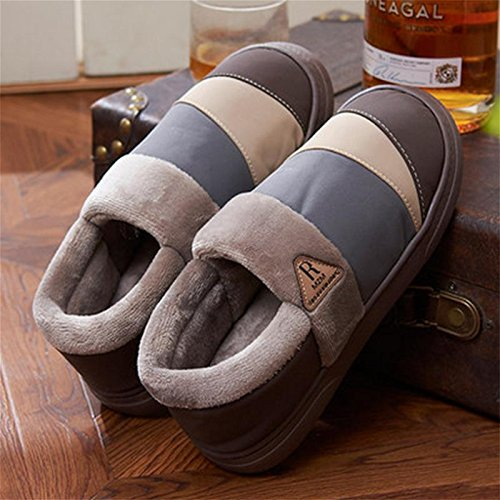 W&XY Winter Men Slippers Nubuck leather Fluff Lined House Cotton Shoes , 45