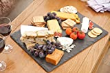 Slate Cheese Board and Knife Set - for cheese, meat, and appetizer dishes. 12 x 15 inches. Comes with 4 piece serving set.