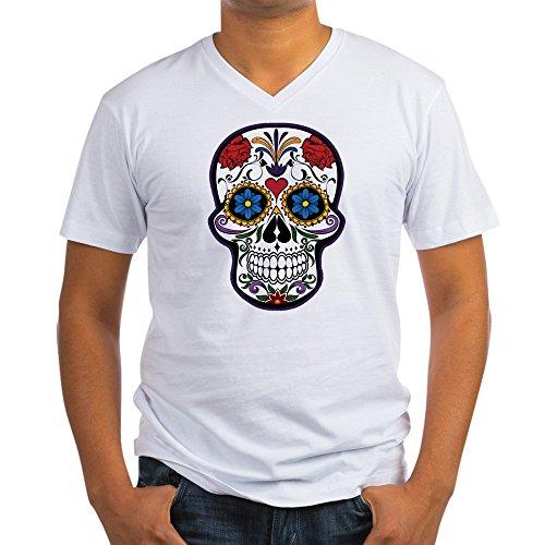 Truly Teague Men's V-Neck T-Shirt Floral Sugar Skull Day of the Dead - Medium