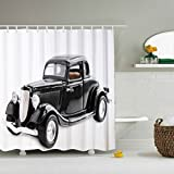 Shower Curtain Antique Car Made of 100% Polyester & Mildew and Soap Scum Resistant (Black car)-66 x 72