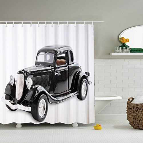 Shower Curtain Antique Car Made of 100% Polyester & Mildew and Soap Scum Resistant (Black car)-66 x 72 by Shower Curtain