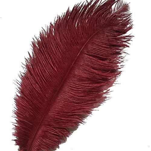 (Sowder 10pcs Ostrich Feathers 12-14inch(30-35cm) for Home Wedding Decoration(burgundy))