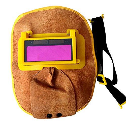 Zorvo Protable Leather Welding Solar Auto Darkening Filter Lens Hood Helmet Mask (Electronic Auto Welding Darkening Helmet)