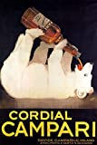 CORDIAL CAMPARI BIG WHITE BEAR DRINKING ALCOHOLIC LIQUEUR ITALY VINTAGE POSTER REPRO