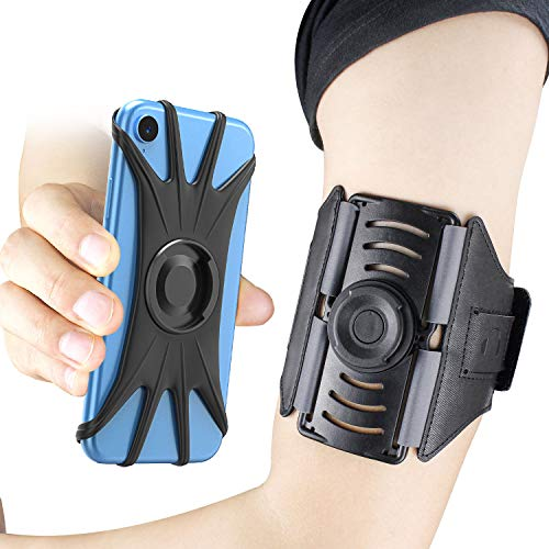 Adjustable Sports Armband - Bovon Phone Armband, [Detachable Magnetic] 360° Rotatable Running Armband Phone Holder Compatible with 4