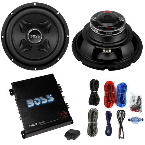 2) Boss CXX10 10' 1600W Car Audio Power Subwoofer Sub+ Mono Amplifier+Amp Kit