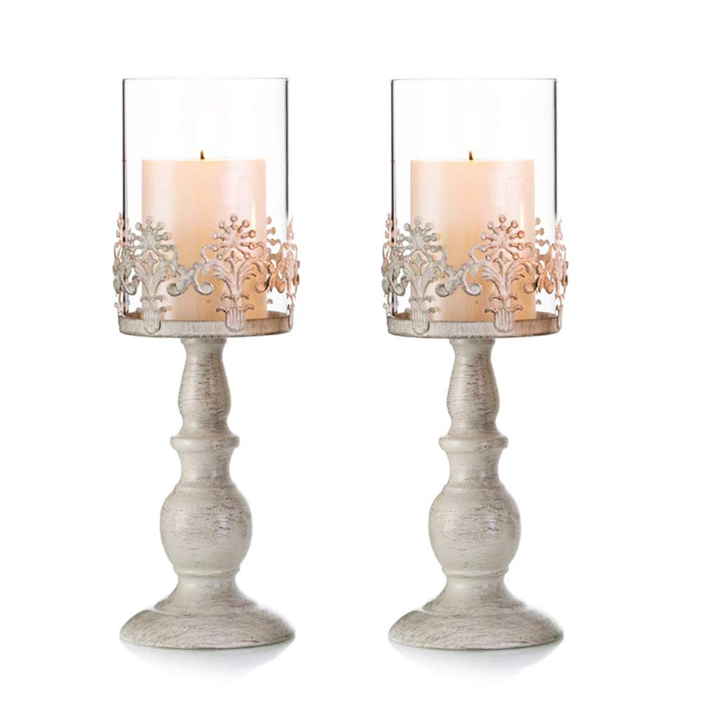 Pcs of 2 Vintage Metal Pillar Candle Holder Antique Hurricane Candlestick with Glass Screen Cover Accent Display for Home Wedding Candlelight Dinner Decoration (2 x 13 H)