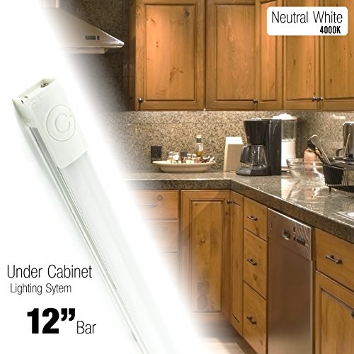 Cyron 12 inch LED 270 Lumen Lighting Kit, Under Cabinet Counter Accent Light Bar, Neutral White (4000K), On/Off Touch Button, Magnetic or Bracket Mount (Included), UL Listed, 24 Volts DC