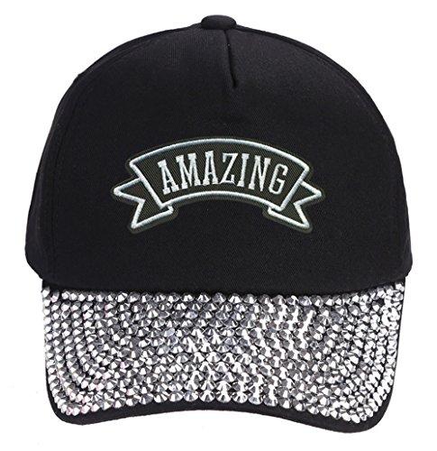 Amazing Marquee Hat - Black Rhinestone Adjustable Womens ()