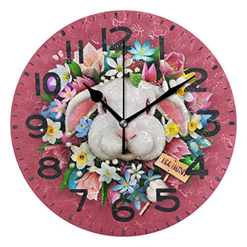 Naanle Cute Bunny in Easter Egg Flowers Wreath Round Wall Clock