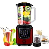 Commercial Blender AIMORES for Smoothie,Juice,Ice Cream, Hi-Speed | Pre-Programmed Setting, LED Touch Screen, 52oz Big Glass Pitcher, with Essential Nutrition Recipe | ETL & FDA Certified (Red)