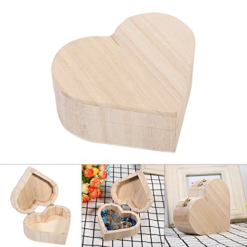 Wooden Heart Box - Yosoo Handcrafted Wooden Storage Box Heart Shaped Jewelry Box Container Organizer Portable