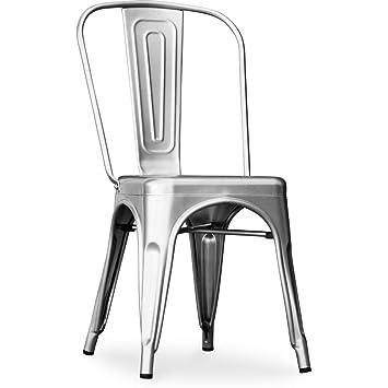 Lote de 2 sillas estilo Tolix en metal industrial - 50 cm x 44 cm x ...
