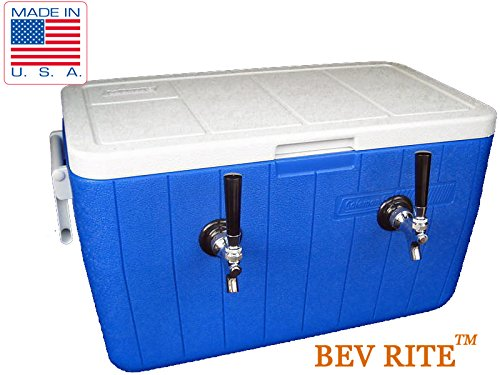 Double Faucet Cooler (Bev Rite Double Faucet Beer Coil Jockey Box Cooler, 120', Red/Blue)