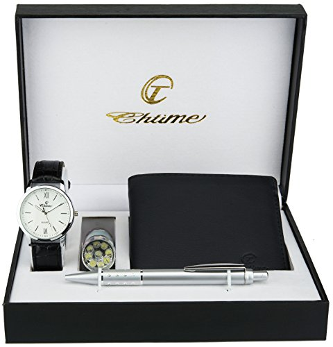 (Gift Set Men's Watch White - LED Lamp LED - Wallet - Pen)