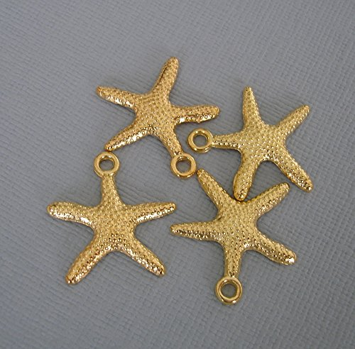 - BeadsTreasure 10- Gold Plated Starfish Charm Pendant Jewelry Making Finding Supply.