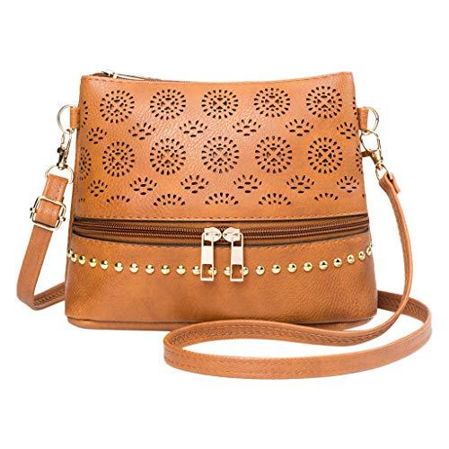 (Pengy Women 's Tassel Shoulder Bag Casual Front Zipper Punching Crossbody Messenger Shoulder Bag)