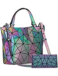 Women's Geometric Handbags Holographic Luminous Purses...