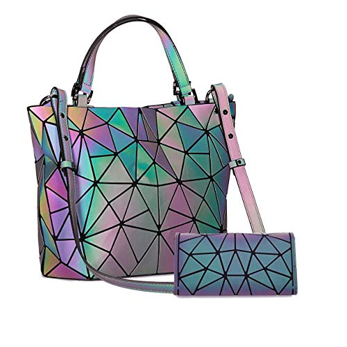 Harlermoon Geometric Luminous Holographic Purses and Handbags Flash Reflactive Tote for Women