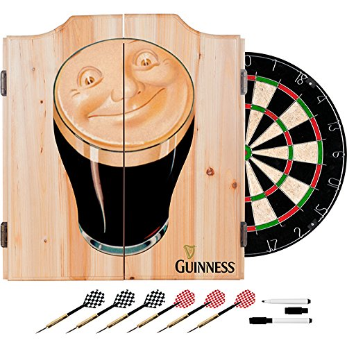 Officially Licensed Guinness Smiling Beer Design Deluxe Wood Cabinet Complete Dart Set by TMG