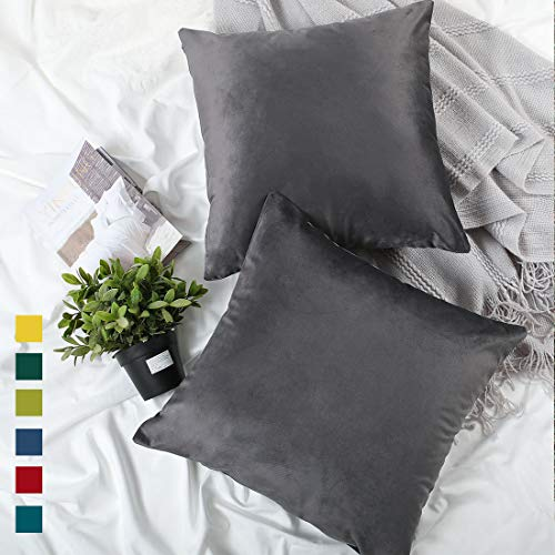 YINFUNG Velvet Pillow Cover Charcoal Grey Dark Gray 18x18 Accent Bed Cozy Soft Decorative Couch Toss Throw Pillow Cover Sofa Living Room 2 Set (Pillow Throw Living Room Covers)
