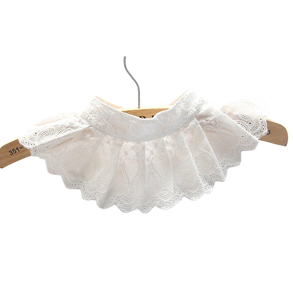 Shinywear Casual Lace Decorative Pleated Spread False Collar Choker Blouse Collar, White, OS
