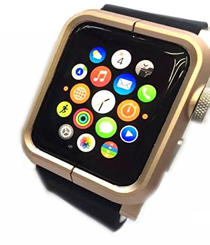 USBerry Apple Watch 42mm iWatch Protective Case Cover Skin with Black Silicone Band Strap(Gold)