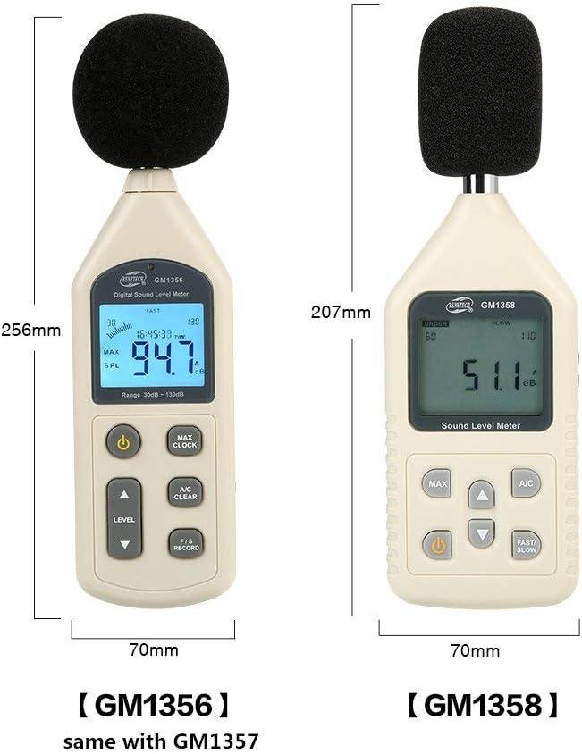 KONGZIR Indoor//Outdoor Uses 30~130dB Digital Sound Level Meter Noise Tester Decibel Meter recoder Suitable for Factories//Ofices//Roads//Families//Audio GM1356