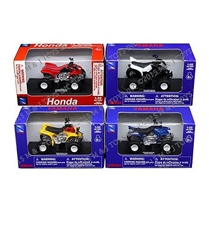 Yamaha Atv Models - NEWRAY 1:32 ATV ASSORTMENT - HONDA & YAMAHA WHITE RIMS 4PCS