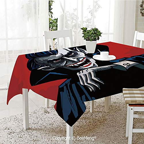 BeeMeng Dining Kitchen Polyester dust-Proof Table Cover,Vampire,Cartoon Cruel Old Man with Cape Sharp Teeth Evil Creepy Smile Halloween Theme,Blue Red Grey,Rectangular,59 x 59 inches -