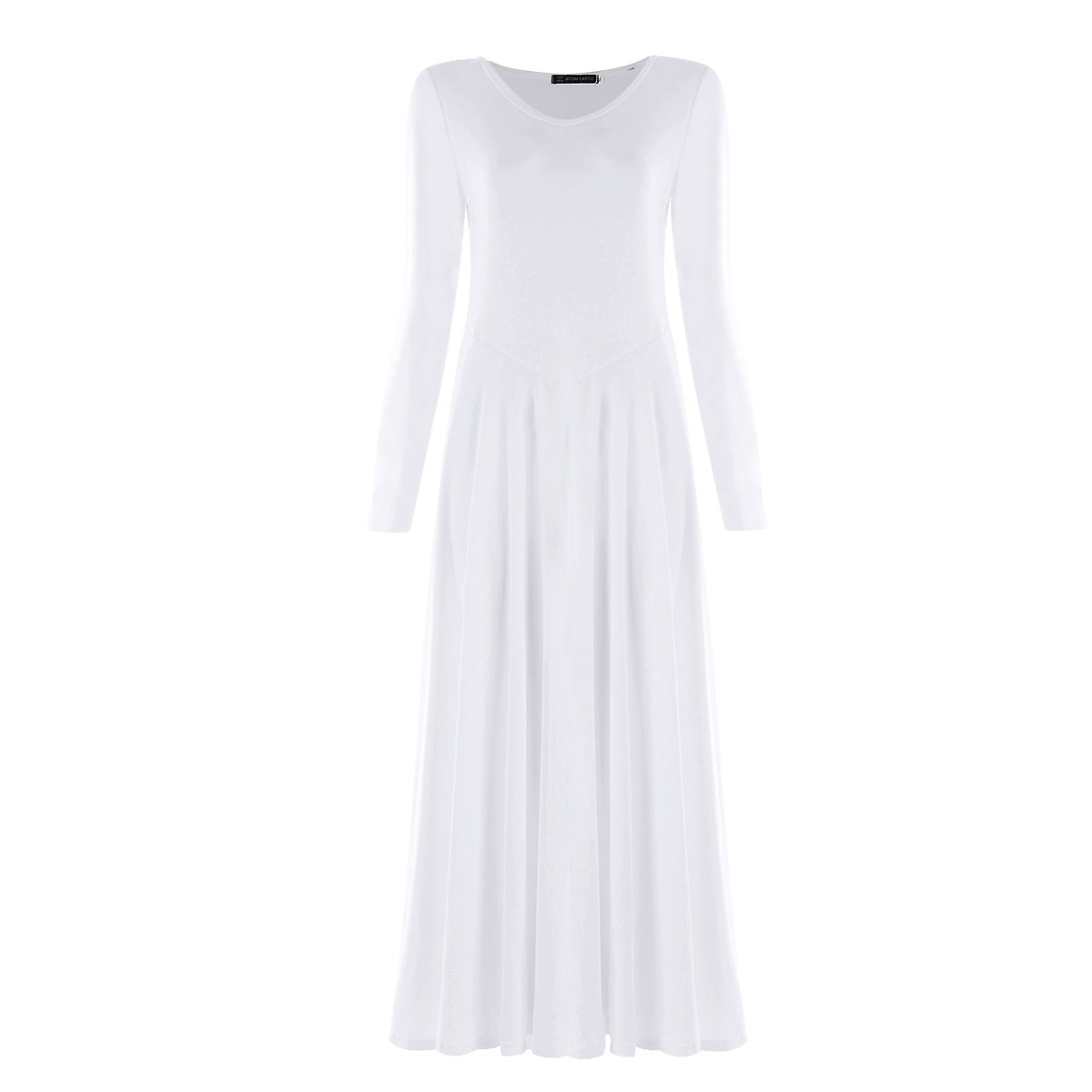 OwlFay Women Solid Long Sleeve Full Length Loose Fit Swing Liturgical Dance Dress Prime Tunic Circle Skirts White M